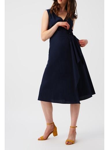 Random Kadın  Beli Bağlamalı Kruvaze Kolsuz Midi Elbise Lacivert